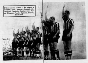 Il saluto romano dei giocatori dell'Ambrosiana-Inter all'inizio di un match della stagione 1934/1935. Fonte: La Domenica Sportiva, 30 settembre 1934, pp. 6-7.